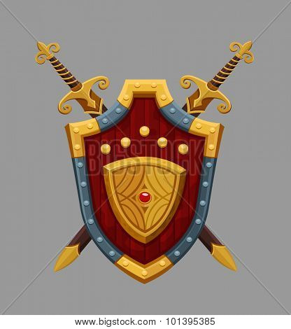 Cartoon red shield. Vector illustration