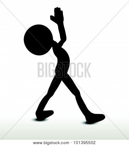 3d man silhouette isolated on white background yoga. poster