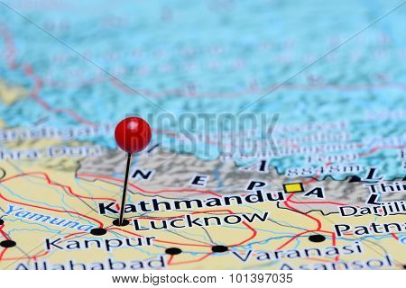 Lucknow pinned on a map of Asia