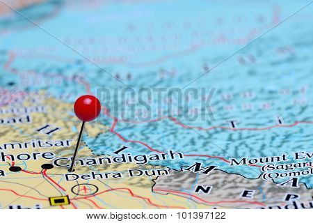 Dehra Dun pinned on a map of Asia