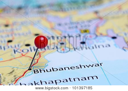 Bhubaneshwar pinned on a map of Asia
