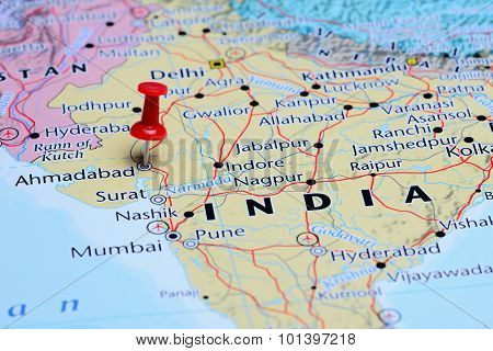 Ahmadabad pinned on a map of Asia