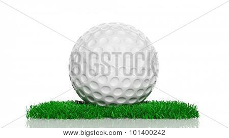 Golf ball on green turf patch, isolated on white background