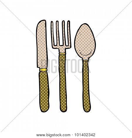 comic book style cartoon knife fork spoon