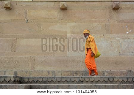 Shaiva Sadhu Seeking Alms On The Street