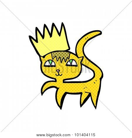 comic book style cartoon cat with crown
