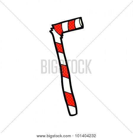 comic book style cartoon stripey straw