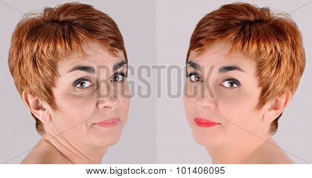 A set of two portraits of the same woman, one before and the other after applying make-up and computer retouching poster