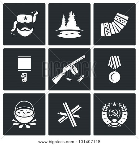 Guerrillas warrior icons set. Vector Illustration.  Isolated Flat Icons collection on a black background for design