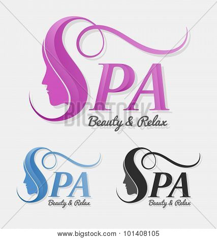 Beautiful Silhouette Female Face Behind Letter S Logo Design.