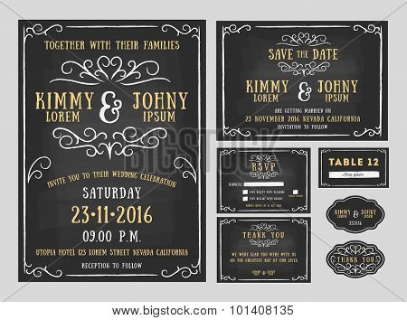 Wedding invitation chalkboard design with flourishes line