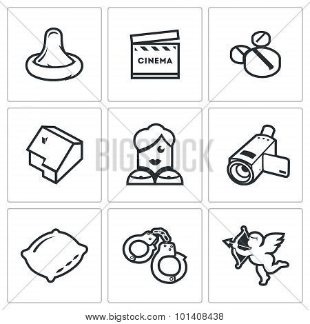Adult movies icons set. Vector Illustration. Vector Isolated Flat Icons collection on a white background for design