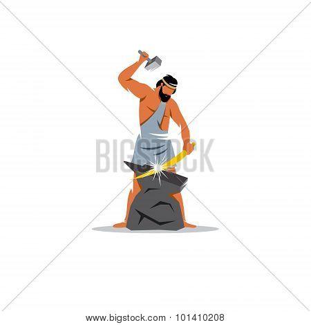 Hephaestus Sign. The Mythological Greek God Of Fire, Patron Blacksmith. Vector Illustration.