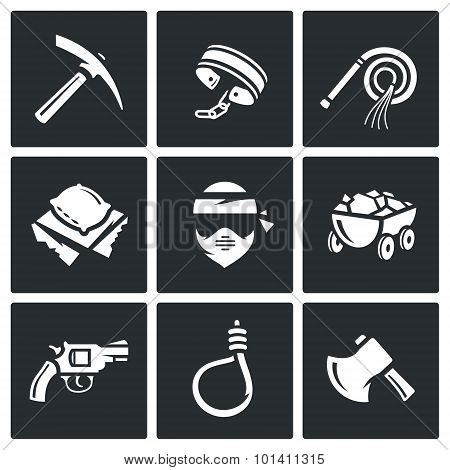 Quarry And Slavery Icons Set. Vector Illustration.