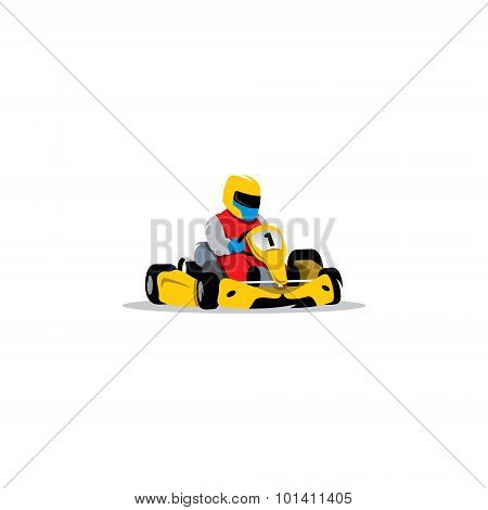 Kart Racing Sign. Young Race Car Driver In The Helmet At Wheel. Vector Illustration.