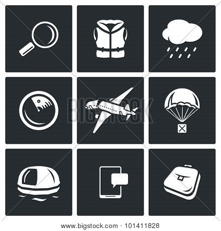 Search Operation, Plane Crash Icons Set. Vector Illustration.