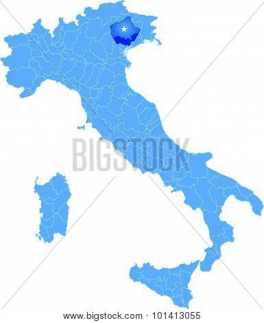 Map Of Italy, Treviso