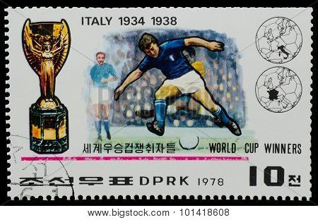 North Korea - Circa 1978: A Stamp Printed In North Korea Shows The Soccer Players Pak Doo Lk  From T