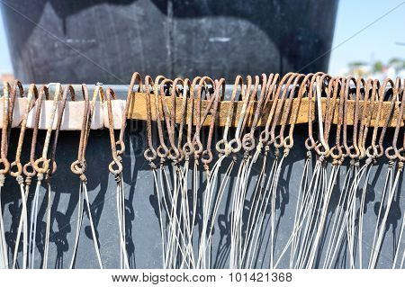 A lot fishhook fisherman tools with cord
