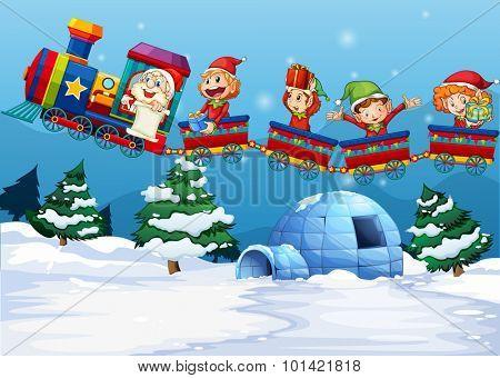 Santa and elf riding on train  illustration