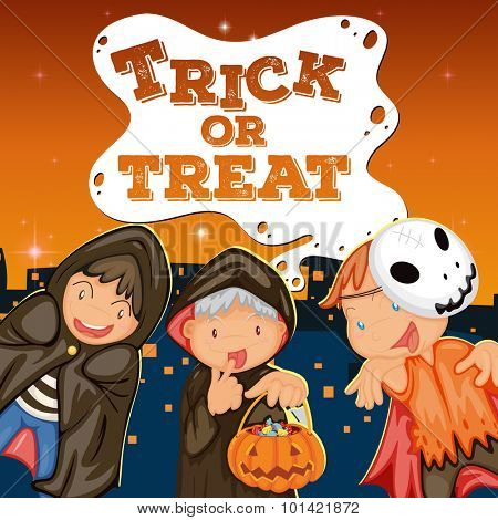 Halloween theme with kids trick or treat illustration poster
