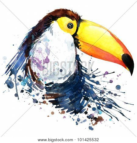 toucan T-shirt graphics. toucan illustration with splash watercolor textured  background.unusual ill