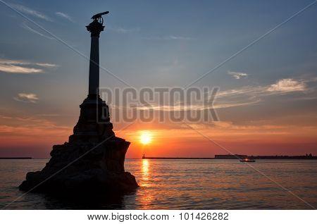 Monument To The Scuttled Warships In Sevastopol In Sunset, Crimea