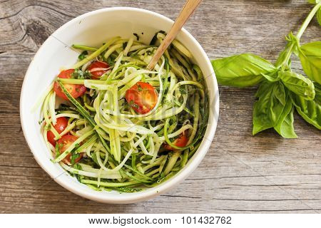 Zucchini Spaghetti Noodles with Tomato and Basil Top View