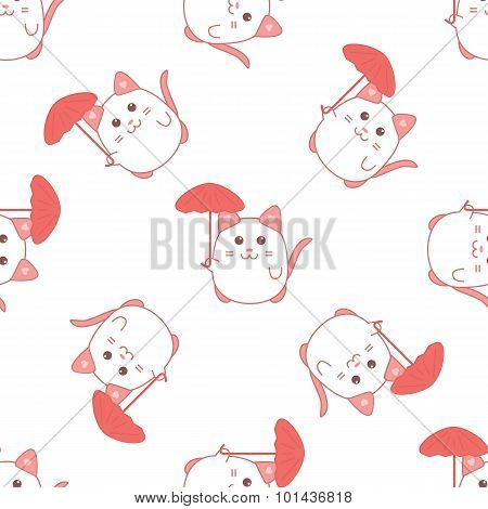 Cute seamless pattern with cat and umbrella