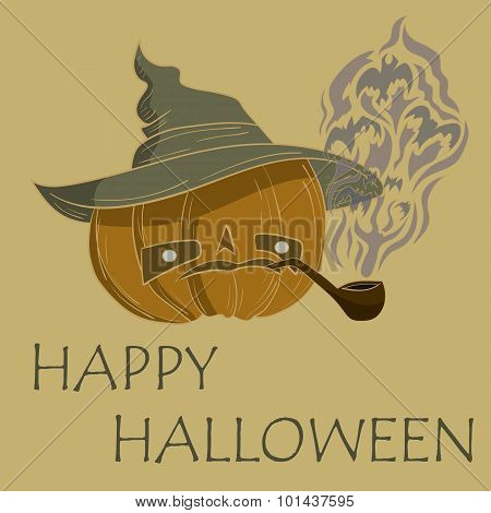 pumpkin with hat smoking. vector illustration