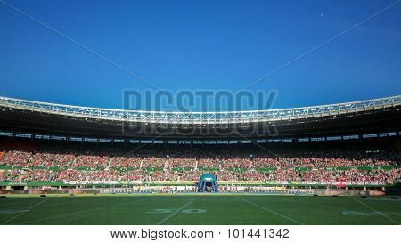 VIENNA, AUSTRIA - JUNE 7, 2014: A view of the Ernst/Happel-Stadium in Vienna before the finals of the American Football Championships.