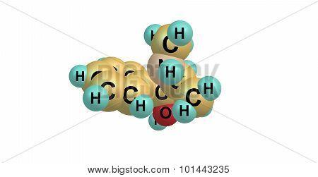 Pseudoephedrine molecular structure isolated on white