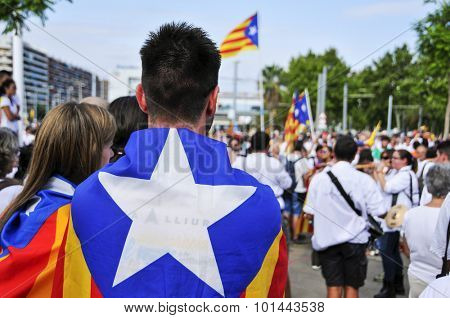 BARCELONA, SPAIN - SEPTEMBER 11: At least 1.4 million people partake in a rally in support for the independence of Catalonia on September 11, 2015 in Barcelona, Spain, during its National Day