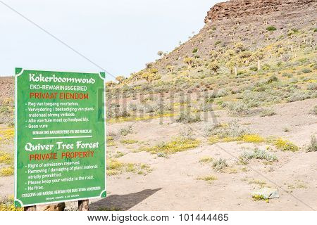 Sign Board Of The Quiver Tree Forest At Gannabos