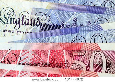 Macro Close Up Of British Pound Notes