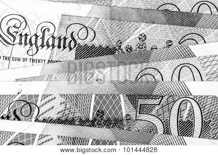 Macro Close Up Of British Pound Notes