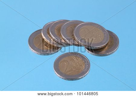 Euro Coins On A Blue Chromakey Background.