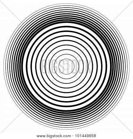 Abstract circle element. Concentric circles ripple effect. Vector. poster