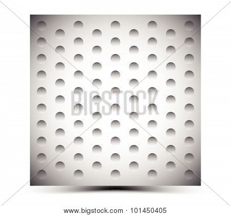 Abstract Perforated Metal Surface / Sheet. Studded, Punctured Metal. Dimples Background.