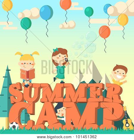Summer camp flier vector illustration.Fun kids playing outdoors.