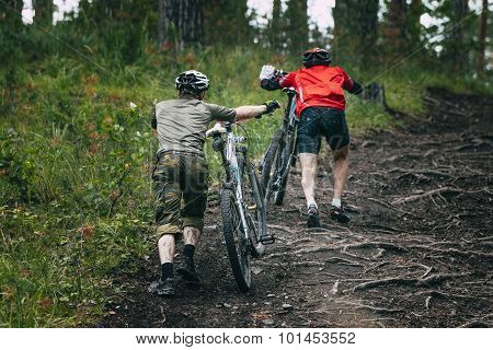 two mountainbiker in forest