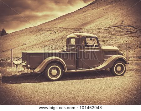 Sepia Vintage Truck