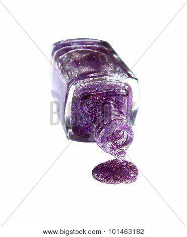 Purple Glitter Nail Polish flow on white background