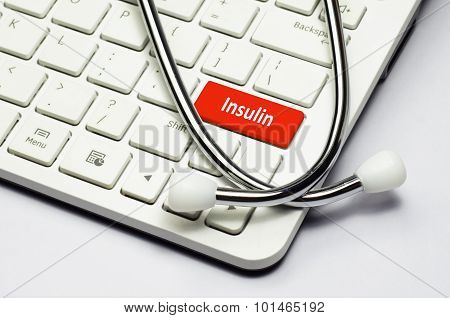 Keyboard, Insulin Text And Stethoscope