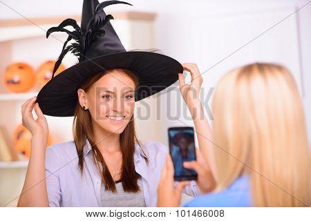 Nice girls having Halloween party