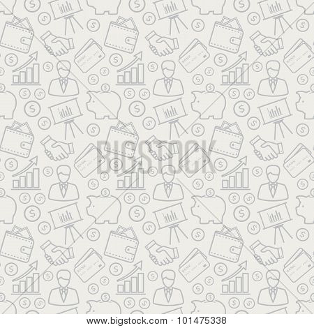Business Seamless Pattern. Vector Background.