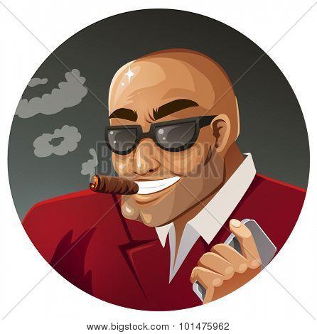 Gangster smoking a cigar