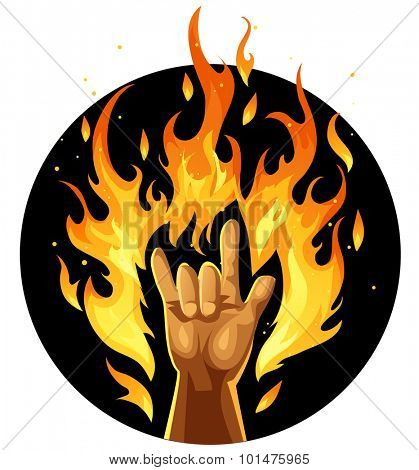 Hand in rock and roll sign in fire