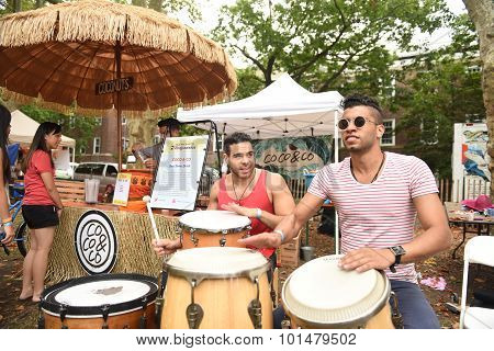Drummers perform for Coco & Co