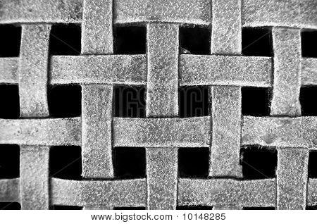 Woven Metal Mesh Grid Pattern